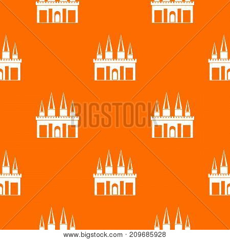 Kingdom palace pattern repeat seamless in orange color for any design. Vector geometric illustration