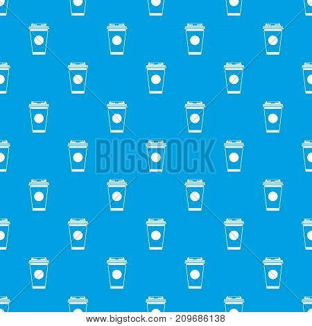 Paper coffee cup pattern repeat seamless in blue color for any design. Vector geometric illustration