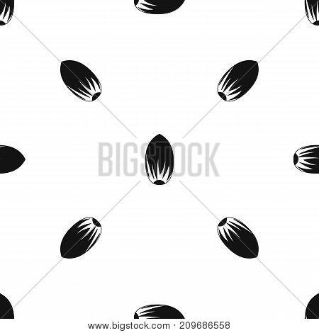 Pecan nut pattern repeat seamless in black color for any design. Vector geometric illustration