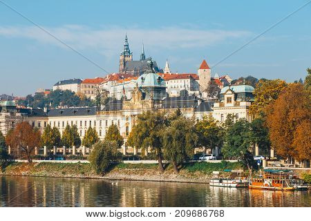 Historical Center Of Prague With Castle, Hradcany, Czech Republic