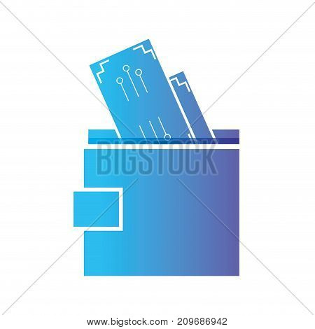 line wallet to save cash money vector illustration