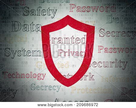 Protection concept: Painted red Contoured Shield icon on Digital Data Paper background with  Tag Cloud