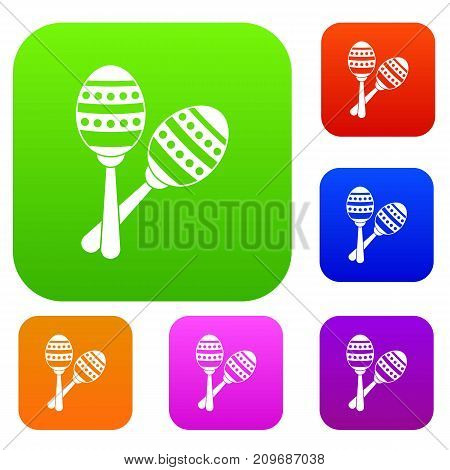 Maracas set icon color in flat style isolated on white. Collection sings vector illustration