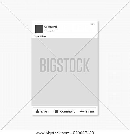 Social Network Post Frame Vector Illustration Flat Design