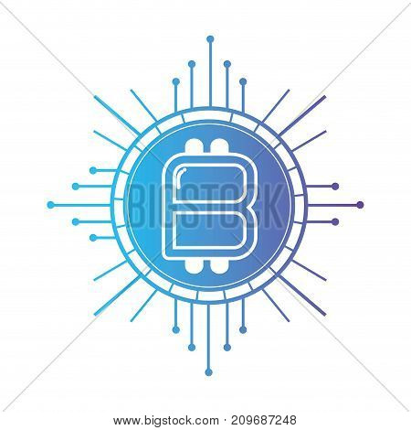 line bitcoin cryptocurrency electronic and virtual money vector illustration