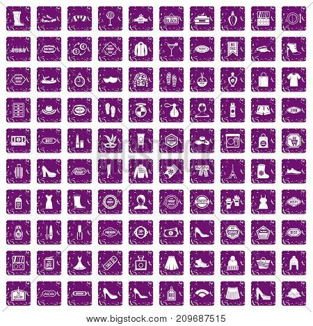 100 woman shopping icons set in grunge style purple color isolated on white background vector illustration