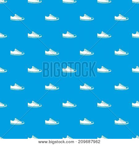 Canvas sneaker pattern repeat seamless in blue color for any design. Vector geometric illustration