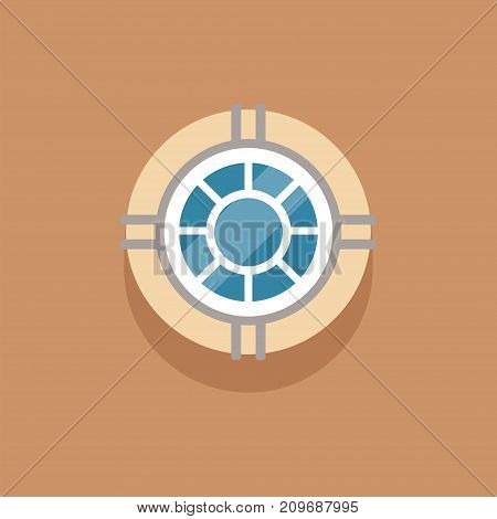 Interior round window to attic on brown wall with highlights and shadows. Outdoor view on loft window. Architectural details, building element of glass and metal. Flat vector illustration isolated