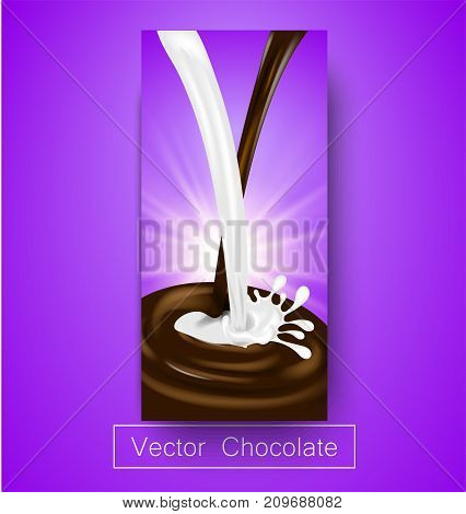 Set realistic vector vertical chocolate banners design package template.