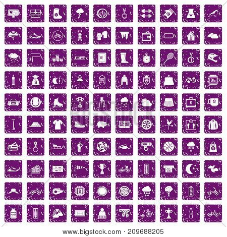 100 woman sport icons set in grunge style purple color isolated on white background vector illustration