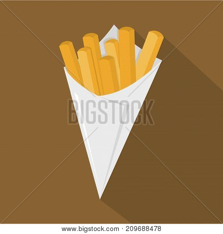 French fries icon. Flat illustration of french fries vector icon for web