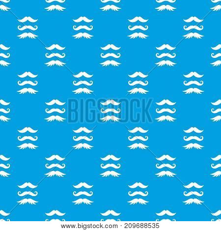 Moustaches pattern repeat seamless in blue color for any design. Vector geometric illustration