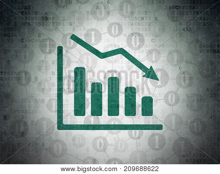 Finance concept: Painted green Decline Graph icon on Digital Data Paper background with Scheme Of Binary Code