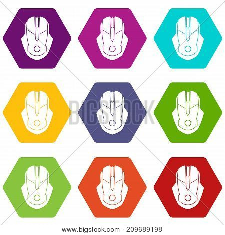 Computer mouse icon set many color hexahedron isolated on white vector illustration