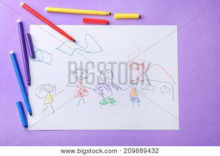 Child's drawing of family on violet background