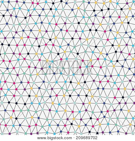 Modern abstract vector backdrop with irregular wireframe network. Colorful background with connected dots. Illustration in naive style for kids. Element of design for children's book.