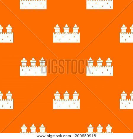 Medieval wall and towers pattern repeat seamless in orange color for any design. Vector geometric illustration