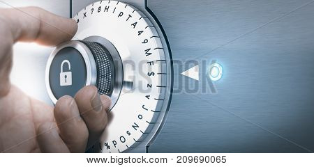 Hand turning a safe lock dial with numbers punctuations letters and symbols. Concept of Safe and secured password generation. Composite image between a hand photography and a 3D background.