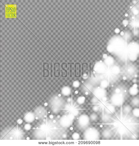 Snow, star, glitter line on a transparent background. Vector illustration 10 EPS. Abstract snowflake background. Festive shine ribbon. For Christmas, New Year, Birthday, holiday party invitation card