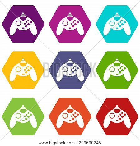 Gamepad icon set many color hexahedron isolated on white vector illustration