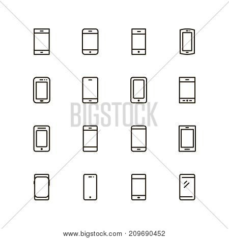 Smarphone icon set. Collection of high quality outline technology pictograms in modern flat style. Black phone symbol for web design and mobile app on white background. Mobile line logo.