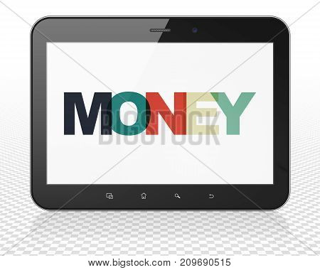 Business concept: Tablet Pc Computer with Painted multicolor text Money on display, 3D rendering