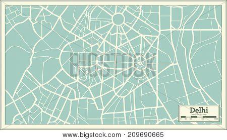 Delhi India Map in Retro Style.