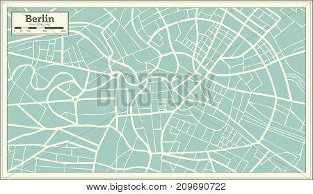 Berlin Germany Map in Retro Style.
