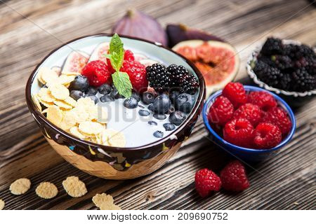 Delicious blueberry and fig yoghurt