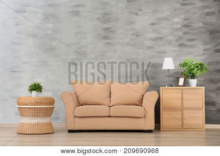Modern living room with cozy sofa