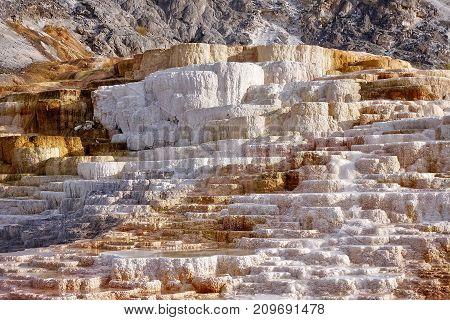 Mammoth Hot Springs, USA, 2017.08.30: At Mammoth Hot Springs in the Yellowstone National Park in the USA.