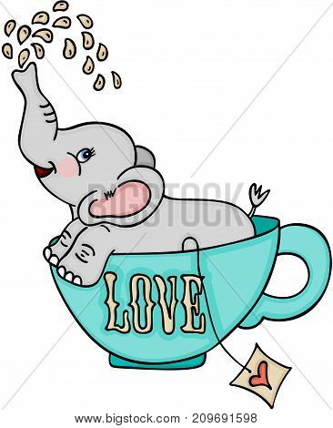 Scalable vectorial image representing a cute elephant in love tea cup, isolated on white.