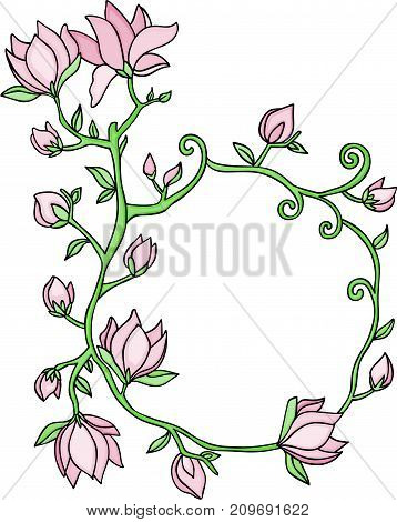 Scalable vectorial image representing a frame border with flowers and branches, isolated on white.