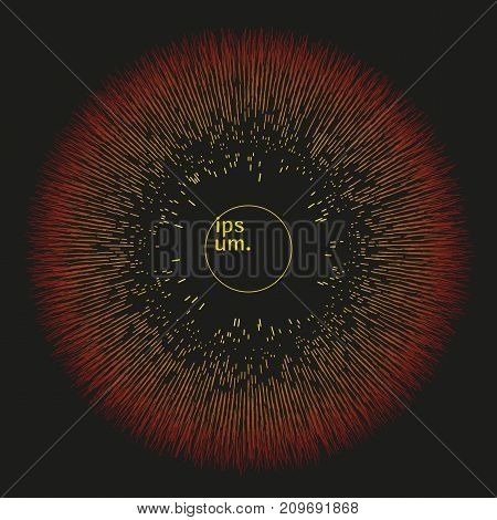 Colorful linear futuristic sphere. Modern vector illustration with round geometric shape. Contemporary cybernetic abstract background with exploding 3d object. Element of design.