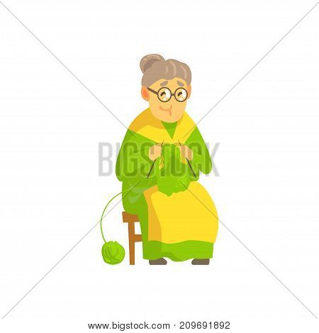 Cute old lady in green dress and yellow apron sitting on chair and knitting wool product for grandchildren. Cartoon grandmother character. Vector illustration in flat isolated on white background.