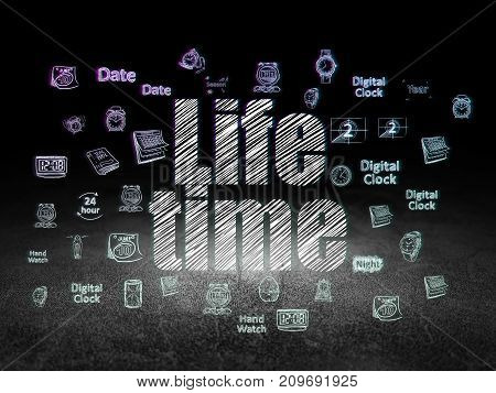 Time concept: Glowing text Life Time,  Hand Drawing Time Icons in grunge dark room with Dirty Floor, black background