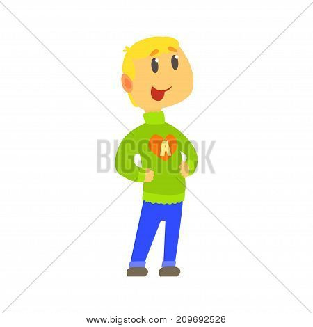 Blonde little kid in knitted sweater with letter A on chest and blue jeans with arms akimbo. Child in warm winter clothes. Cartoon boy character. Vector illustration in flat style isolated on white.