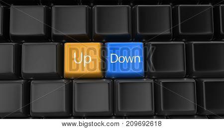 3d Illustration. Image of Up, down key concept