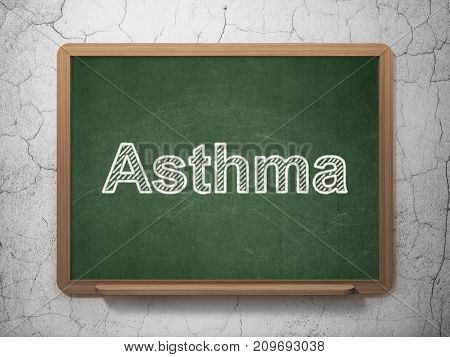 Healthcare concept: text Asthma on Green chalkboard on grunge wall background, 3D rendering