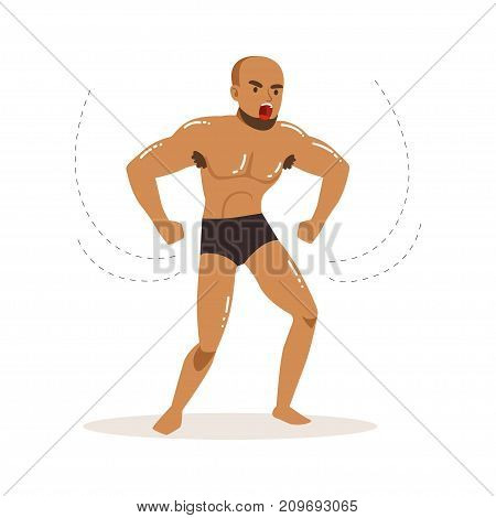 Cartoon character of angry wrestler in fight action. Professional muscularity fighter ready to win. Mixed martial artist. Strong man. Powerful posing. Vector illustration isolated on white background.