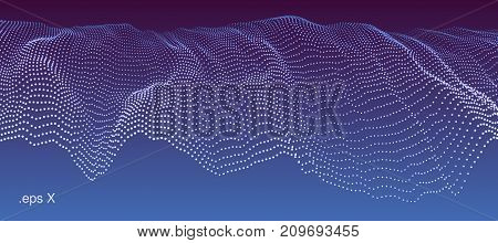 Modern technological abstract vector illustration. Wavy dotted cascade. Contemporary digital background. Dynamic futuristic complex shape made of round particles. Element of design.