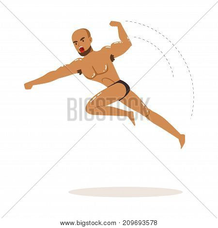 Cartoon character of wrestler in flying jump kick action. Professional muscularity fighter. Mixed martial artist. Combat sport. Strong man. Vector illustration isolated on white background.