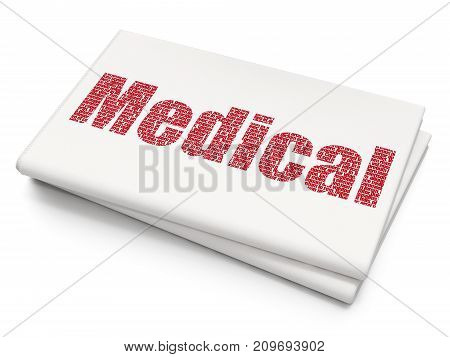 Health concept: Pixelated red text Medical on Blank Newspaper background, 3D rendering