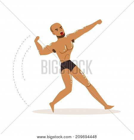 Cartoon character of wrestler in fighting action. Professional muscularity fighter. Active man. Mixed martial artist. Strong man in fighting pose. Vector illustration isolated on white background.