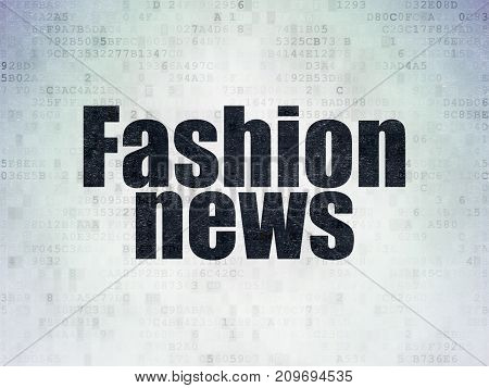 News concept: Painted black word Fashion News on Digital Data Paper background