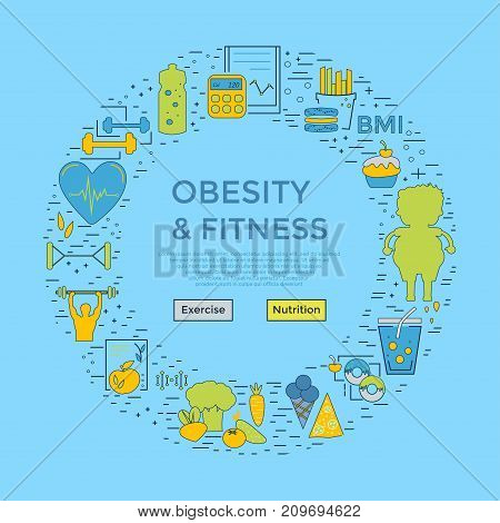 Modern Unique Style Design - Obesity And Fitness Flyer Or Banner, Landing Page For Medical Site,