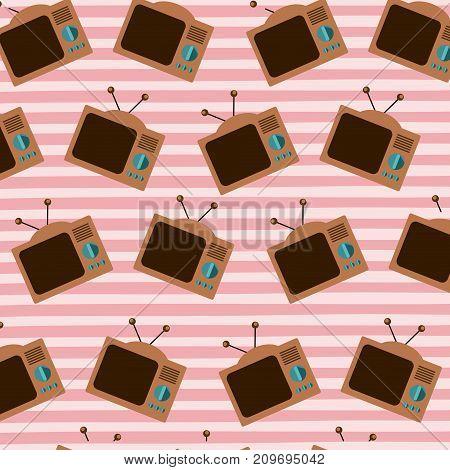 old television pattern set on pop art linear color background vector illustration