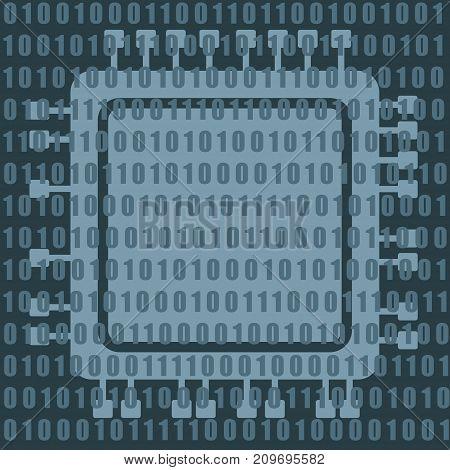 CPU microprocessor icon and binary data code