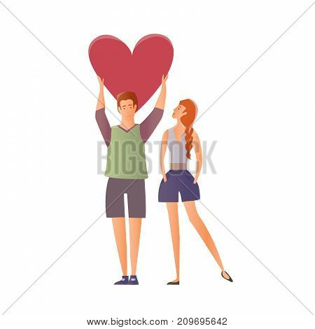 Young couple in love. Man and woman on a romantic date. A man holding a heart. Vector illustration.