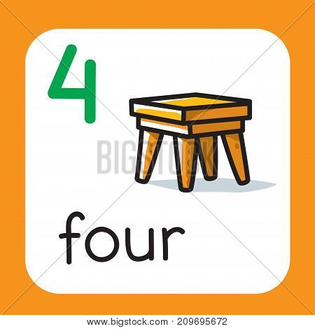 Education card 4. Stool or chair with four legs for learning counting from 1 to 10. Childrens vector illustration